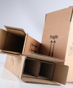 Flesverzenddoos, 1 fles, bruin, 360 mm hoog, incl. binnenwerk, 20 stuks per doos-0